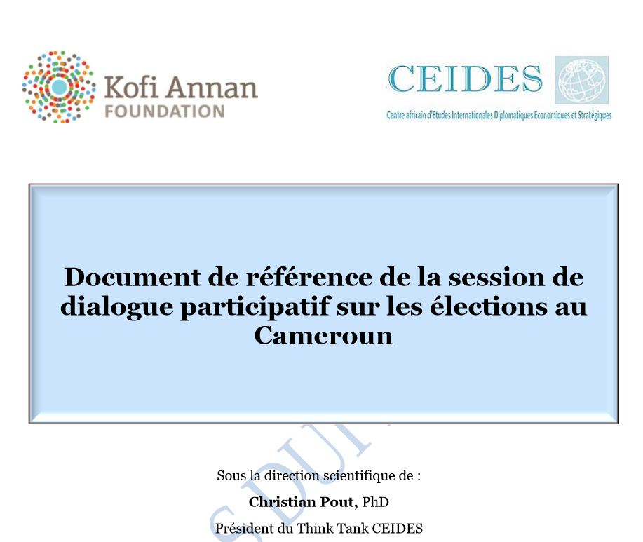 Document de référence de la session de dialogue participatif sur les élections au Cameroun