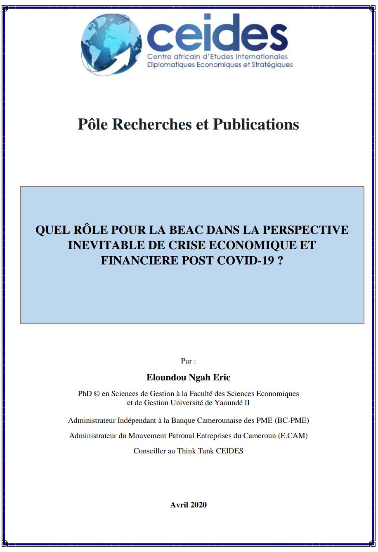 Rôle pour la BEAC dans la perspective inévitable de crise économique et financière post COVID-19