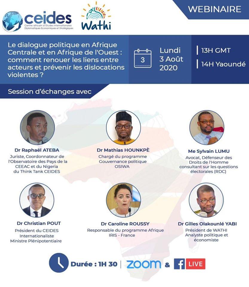 Le dialogue politique dans les pays d'Afrique Centrale et d'Afrique de l'Ouest: comment renouer les liens entre acteurs et prévenir les dislocations violentes?