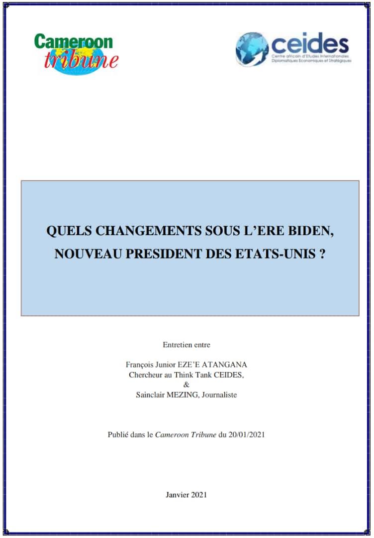 QUELS CHANGEMENTS SOUS L'ERE BIDEN, NOUVEAU PRESIDENT DES ETATS-UNIS ?