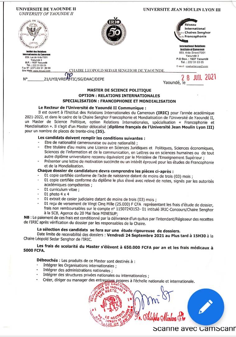 Master en Francophonie et Mondialisation (Diplôme de l'Université Jean Moulin de Lyon III)
