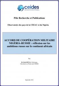 ACCORD DE COOPÉRATION MILITAIRE NIGÉRIA-RUSSIE : réflexion sur les ambitions russes sur le continent africain